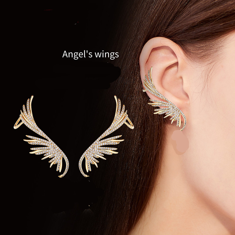 Fashion Gothic Angel Wing Full Crystal Leaf Shaped  Women Gifts Party Clip Earrings Ear Cuff  Shiny Earring