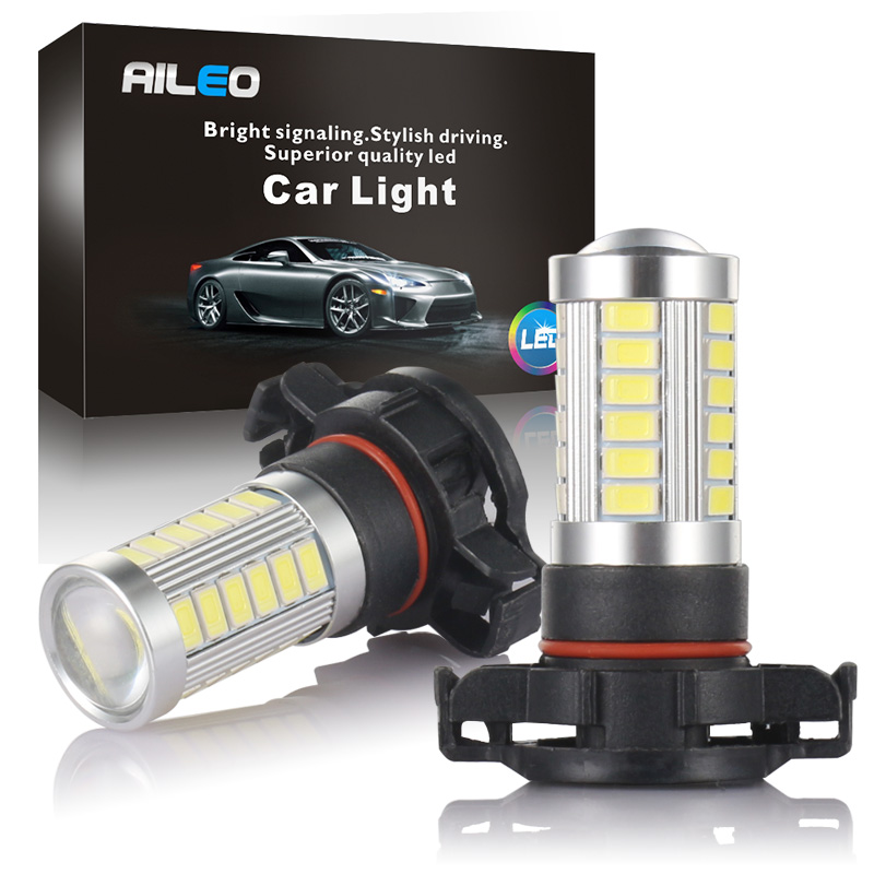 AIEO Car Fog Lamp  PSX24W PS24W LED H16 5202 5201 Auto Bulb Fog Light 5670 Chip 33 SMD 600LM 3000K White 6000K 1 Year Warranty