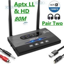 80M CSR8675 Aptx Low Latency HD Bluetooth 5.0 Audio Transmitter Receiver SPDIF 3.5mm 3.5 AUX RCA Wireless Adapter for Car TV PC