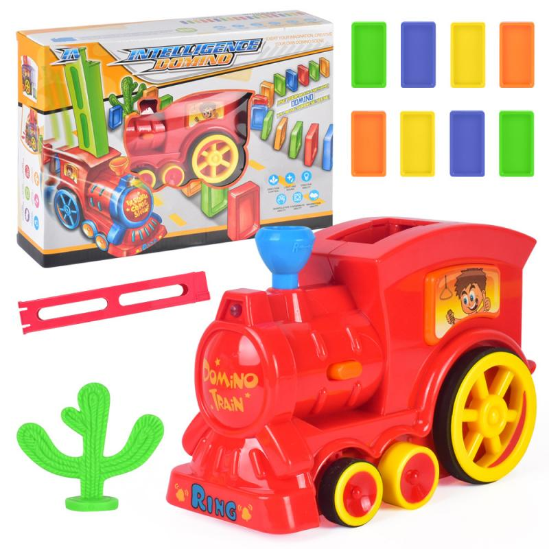 1 поезд+ 60 шт. домино ралли электронный поезд модель ребенок обучающая игрушка девочка мальчик ребенок Рождественский подарок