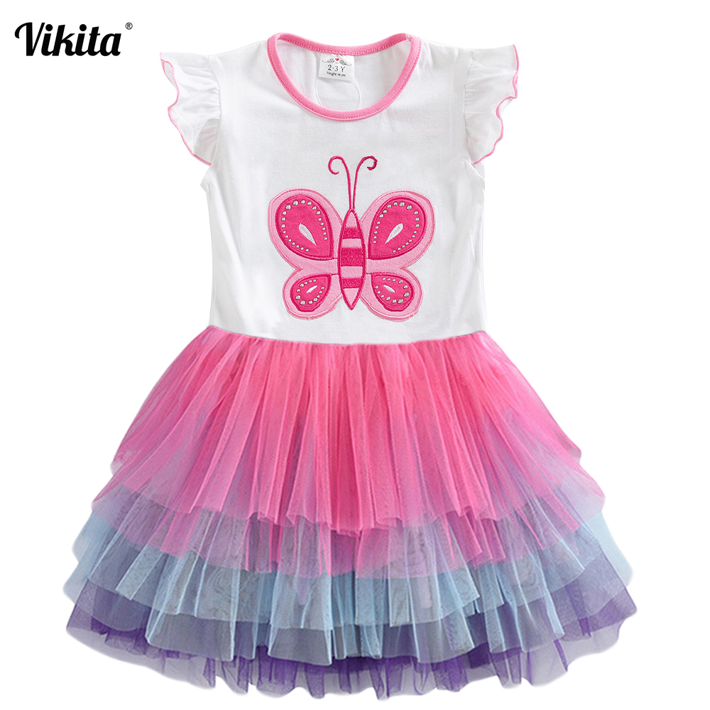 VIKITA Kids Summer Dress For Girls Sleeveless Princess Tulle Dress Girls Patchwork Cotton Mesh Dresses Children Party Dresses