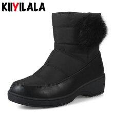 купить Kiiyilala Slip-on Snow Boots Women Cotton Shoes Non-slip Round Toe Hair Ball Woman Winter Plush Shoes Short Boots Big Size 35-44 дешево