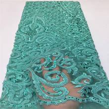 Роскошная кружевная ткань высокого качества 3d африканские бусы кружевная ткань вышивка тюль кружево для африканского свадебного кружевного платья 2736B