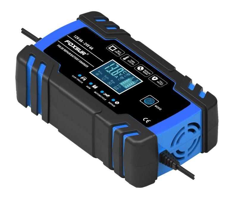 FOXSUR 3-Schritt Automatische Auto Batterie Ladegerät LCD Display Schnelle Lade 100-240V zu 12V 24V 8A Auto Motorrad Batterie Ladegerät