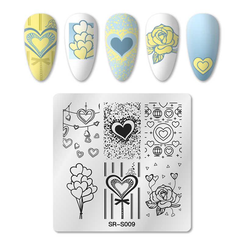 Rban Kuku 6*6 Cm Topi Nail Art Stamping Gambar Piring Cinta Jantung Pola Stainless Steel Kuku Pers Manikur stensil Alat