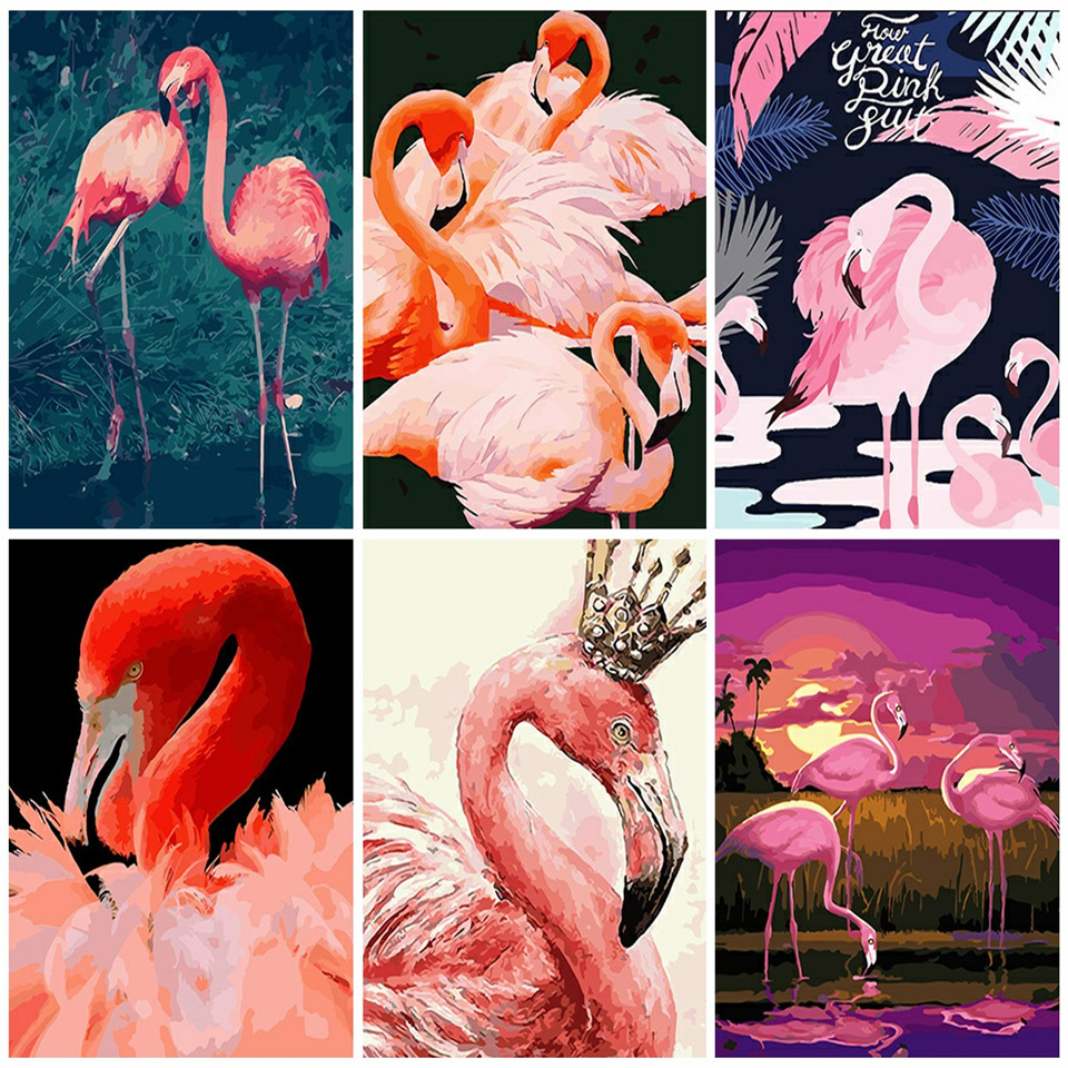 AZQSD Animal Oil Paint By Numbers Canvas Coloring By Numbers Flamingo Painting Bird Posters And Prints Unfinished DIY Hobby