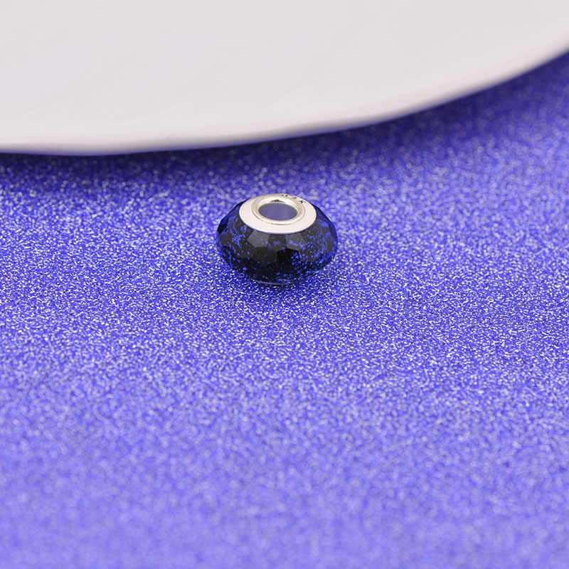 YANHUI 100% אותנטי 925 כסף סטרלינג חרוזים כחול קריסטל קסמי עם S925 חותמת Fit מקורי שרשרת צמיד DIY תכשיטי C010