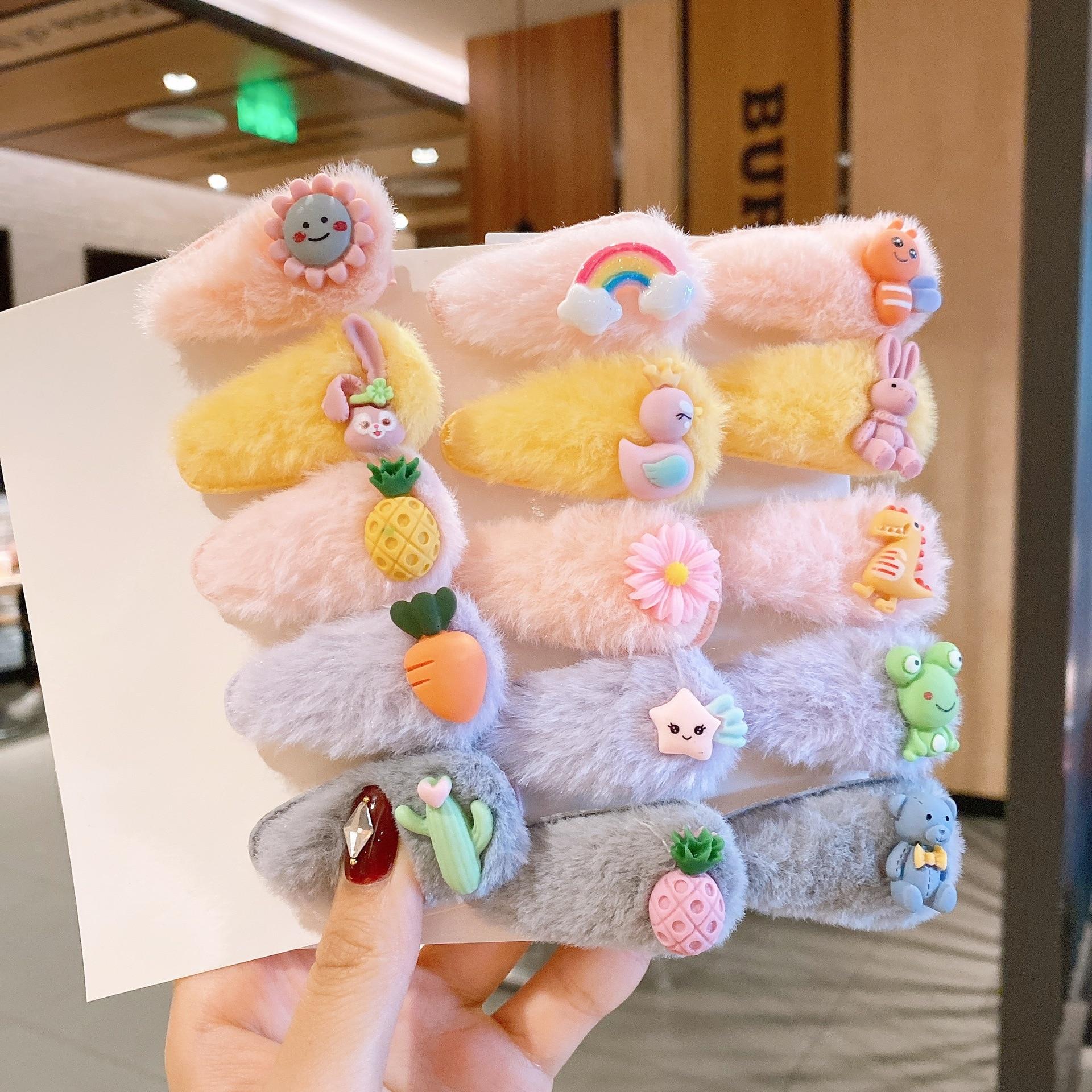 5 шт./компл. прошитой подошве; Теплые зимние плюшевые тапочки для малышей, заколка для волос, Детский подарок для девочек детские заколки для ...