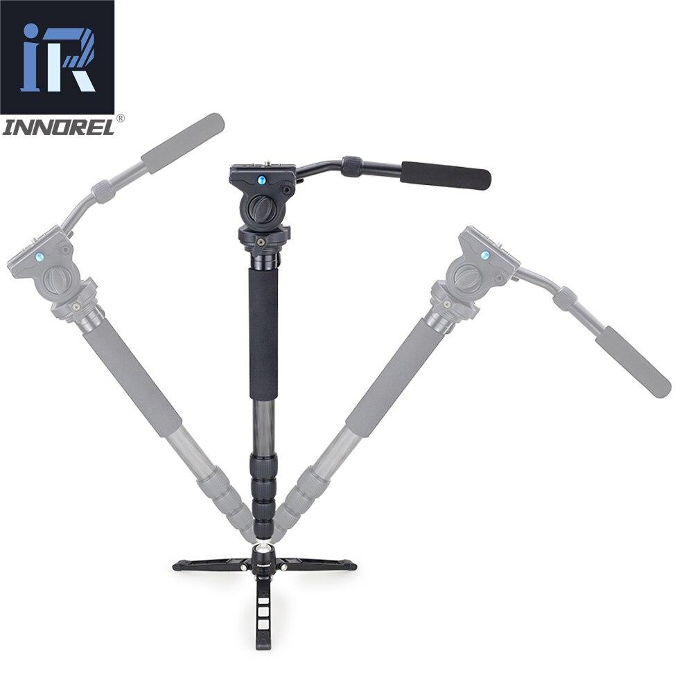 RM60CK video profesional Monopod Kit de fibra de carbono telescópico Monopod para cámara DSLR Gopro con Base de trípode de mesa de cabeza fluida - 3