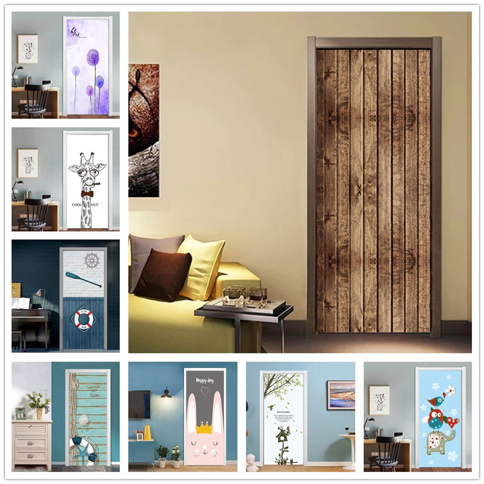 Wooden Door Wallpaper Self-adhesive Removable DIY Stickers For Doors Living Room Bedroom Kids Room Home Decor Renew Vinyl Mural