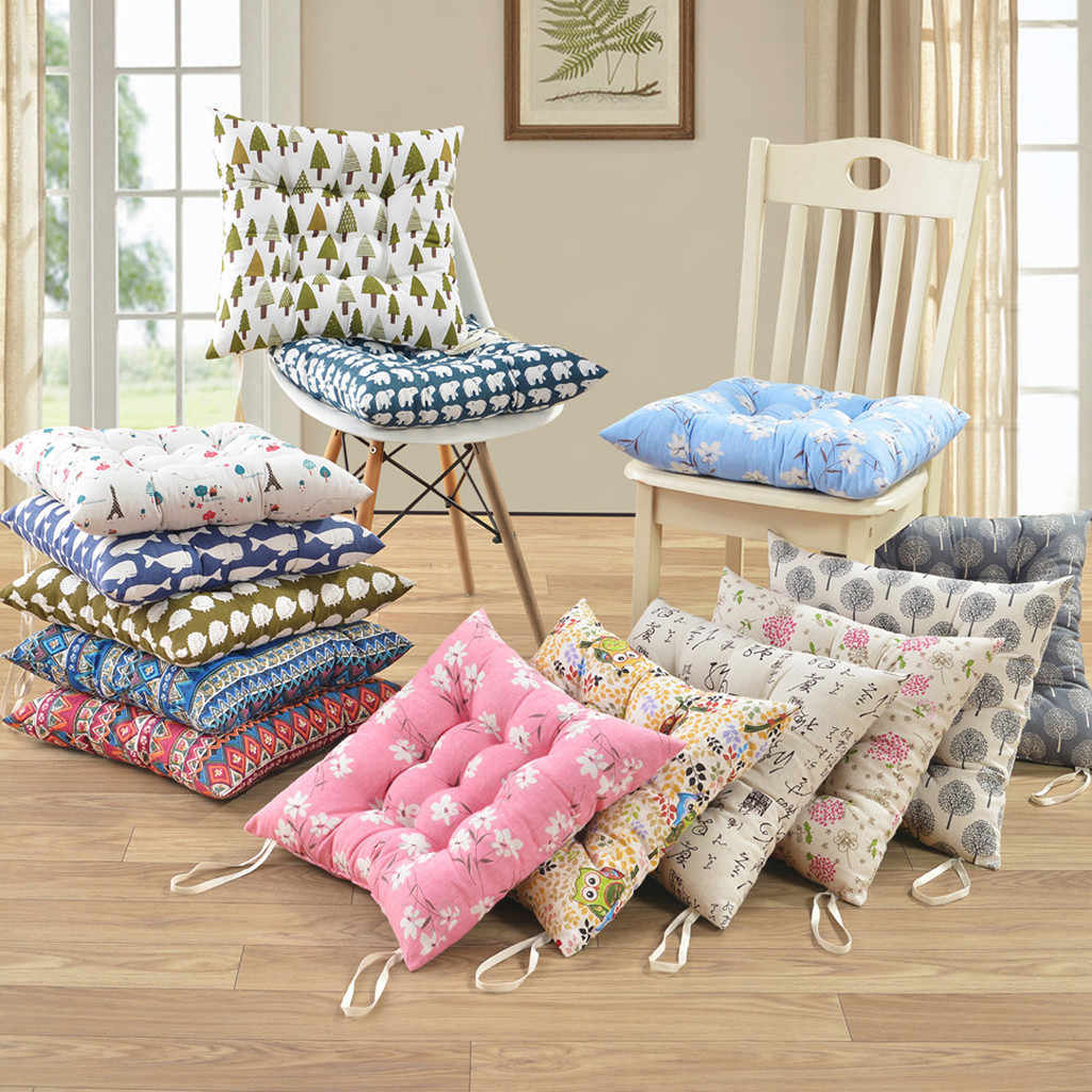 Printing Plain Seat Pad Dining Room Garden Kitchen Chair Cushions