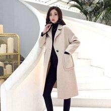 Autumn Winter Wool Coat Women 2019 Casual Solid Turtleneck Elegant Single Button Woolen Blend Long Coat Female Outerwear