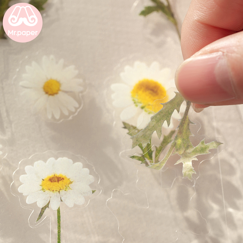 Mr.Paper 12 Designs Natural Daisy Clover Japanese Words Stickers Transparent PET Material Flowers Leaves Plants Deco Stickers 6