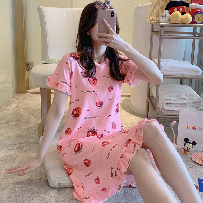Summer Women's Short Sleeve Sleepwear Home Cloth Carton Nightshirt Women Causal Sleepwear Cute Ladies Nightgown Girl Nightgown