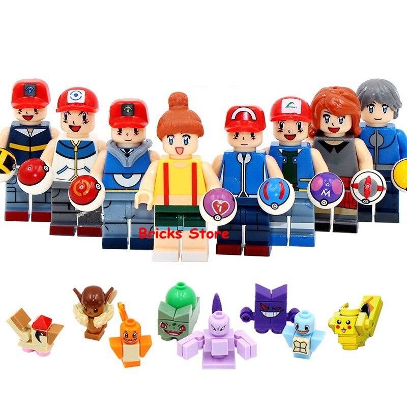 8Sets/Lot Super Heroes Go Pikachu Charmander Bulbasaur Squirtle Figure Blocks Building Bricks Toys For Children Christmas Gift