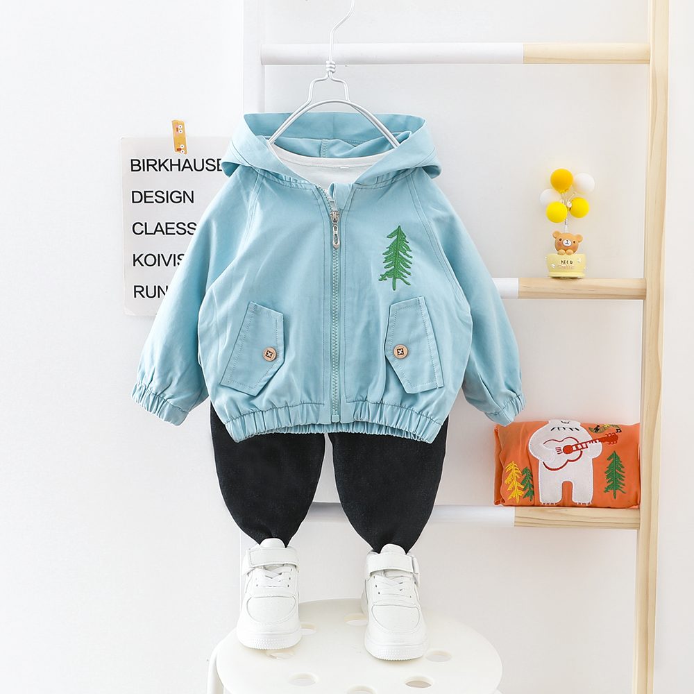 Boy Clothes Baby Suit Hooded Coat + Pants 2 Pieces/set Fall Child Clothing Kids Outwear For 2 3 4 Years Christmas Tree