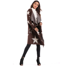 Autumn And Winter Slim Body Collar Ladies Windbreaker Fur Coat Star Pattern Brown Casual Opening Lapel Long 5855
