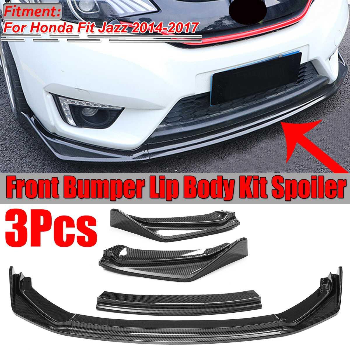 A Set Car Front Bumper Lip Body Kit Diffuser Deflector Spoiler Splitter Lip Guard For Honda For Fit For Jazz 2014 2015 2016 2017