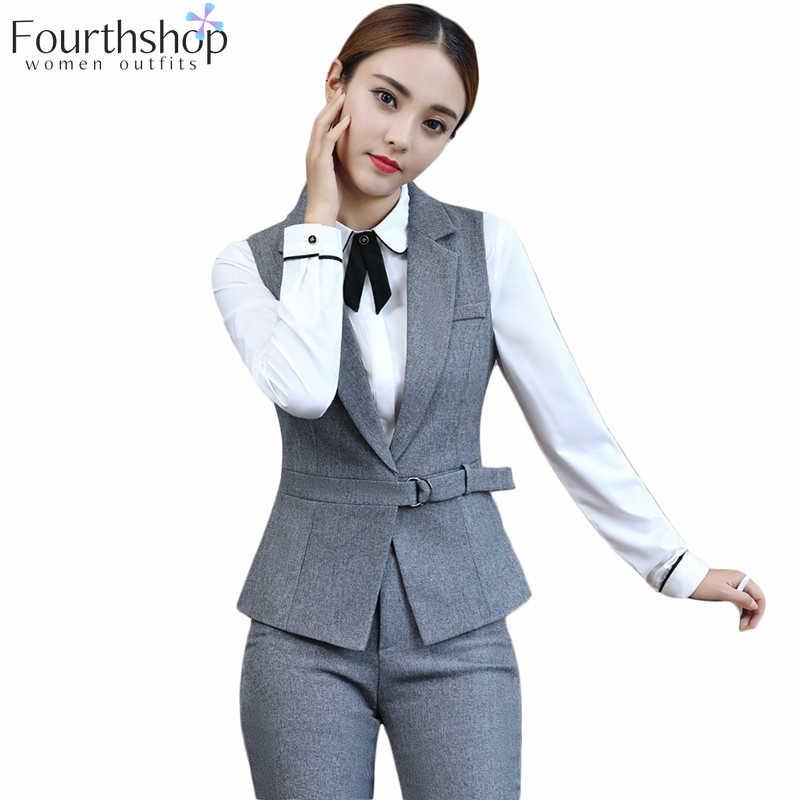 女性 2 個セットファッションパンツスーツエレガントなチョッキベストとパンツベルト事務正式なジャケットブレザースーツ女性
