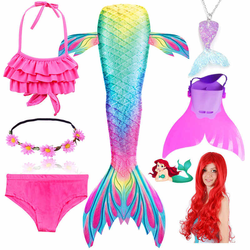 Children Swimmable Mermaid Tail for Kids Swimming Swimsuit Bathing Suit Tail Mermaid Wig for Girls Costume Can Add Fin Monofin