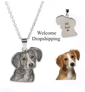 Image 2 - Custom Pet Necklace Personalized Pet Custom Memory Jewelry Photo Pendant Engrave Name 925 Sterling Silver Dog CAT Tag portrait