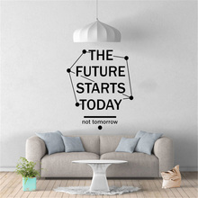 Inspirational Quotes Wall Stickers The Future Starts Today Office Decor Phrase Vinyl Wall Decal Modern Classroom Decoration yoyoyu wall decal quotes the kitchen is where the heart is vinyl wall stickers modern design fashion home decor interior diycy74