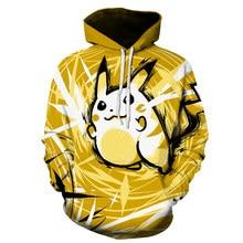 The latest 3D printed cartoon characters Pikachu men and women hoodies Harajuku sportswear hooded jacket comfortable breathable