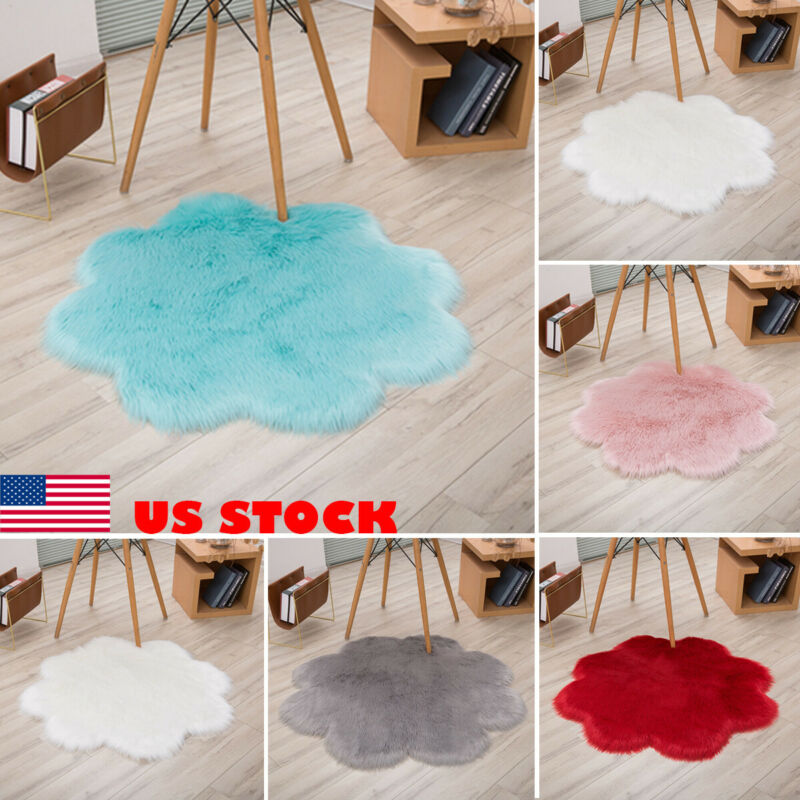 Flower Fluffy Rug Anti-Skid Soft Faux Sheepskin Fur Shaggy Dining Room Carpet Bedroom Carpet Floor Comfortable Bedside Rugs