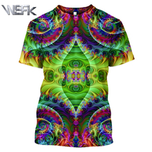 WSFK Men 3D printing T-shirt personality colorful fashion striped casual funny men and women short-sleeved sweater