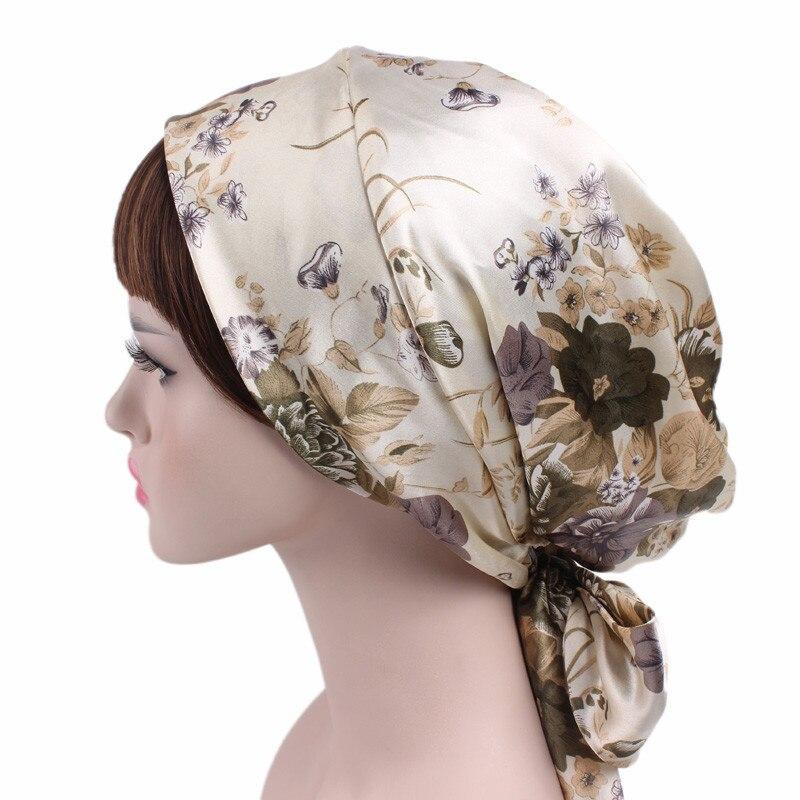 Мусульманский тюрбан для женщин, Мягкая атласная повязка на голову с принтом и бантом на внутренней стороне, хиджаб шапка, 2020