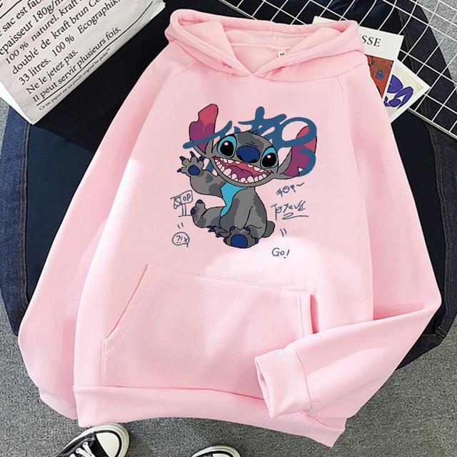 Disney Stitch Hoodies Women Harajuku Pullovers Cute Kawaii Casual Tops O-Neck Angel Print Hooded Sweatshirt Long Sleeves 4