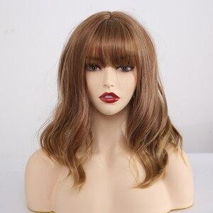 Image 5 - ความยาวปานกลาง Wavy Synthetic Wigs สำหรับผู้หญิงสีดำ Ombre สีดำไวน์แดง Wigs กับ Bangs ความร้อนทน COSPLAY Wigs