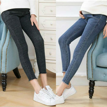 Dziewiąte spodnie jeansy ciążowe dla kobiet w ciąży ubrania Skinny Denim jeansy ze streczem ciążowe spodnie Plus duże rozmiary M-5XL tanie i dobre opinie WOMEN Elastyczny pas Macierzyństwo Natural color light COTTON spandex