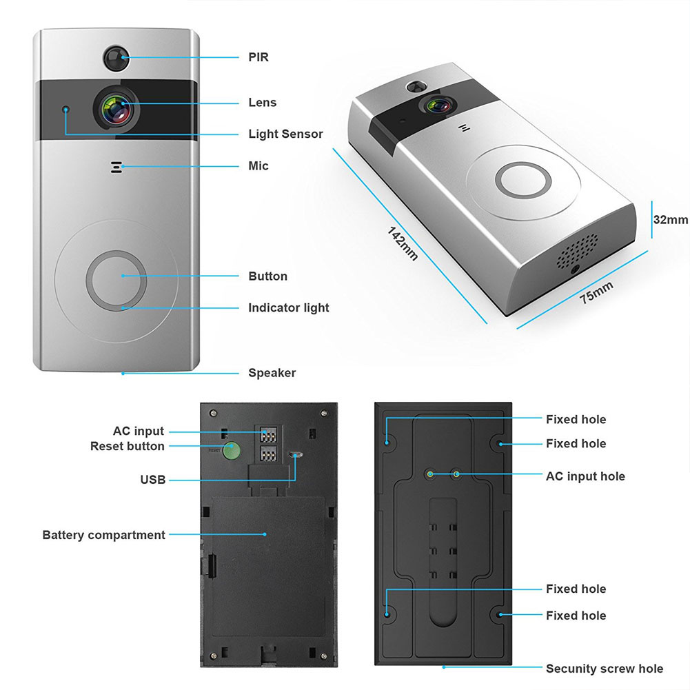 New Wire-free WiFi Video Doorbell With 8G SD Card Rechargeable Night Vision HD Camera For Phone JHP-Best