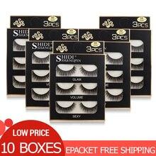 Pestañas falsas al por mayor, 10 cajas, visón Natural, largas, 3d, maquillaje de extensión de pestañas