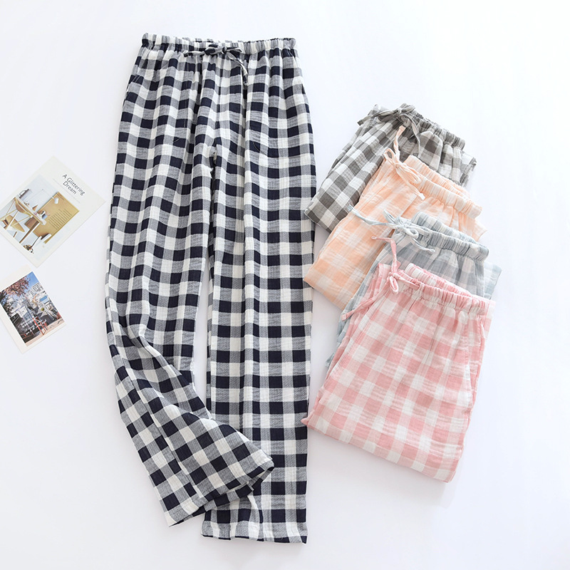 Japanese 2021 new spring and autumn couples cotton plaid trousers men's summer casual home pants women pajama pants cute bottoms
