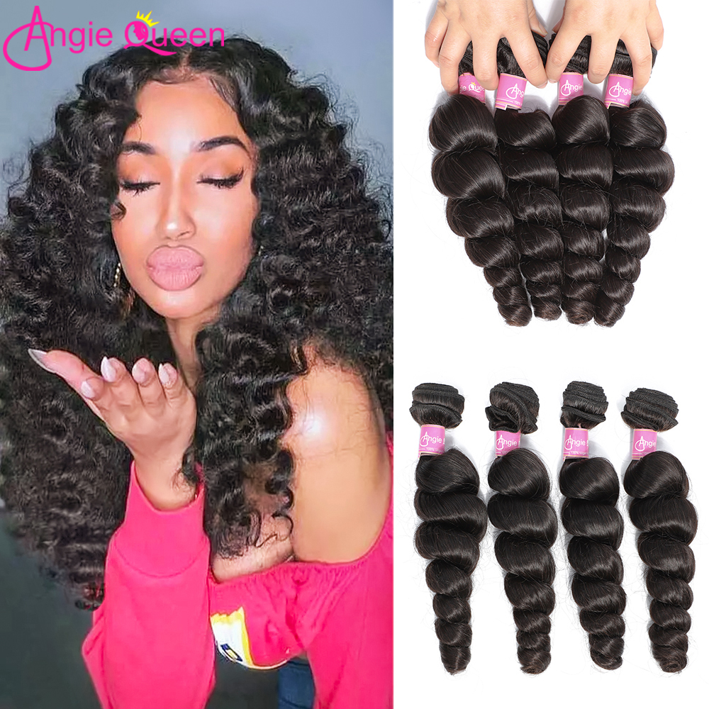 ANGIE QUEEN Loose Wave Bundles Peruvian Hair Non-Remy Hair Weaves 4 Bundles Natural Color 100% Human Hair Bundles