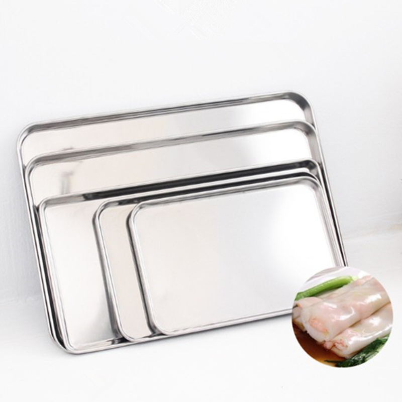 Cake Baking Pastry Storage Trays Stainless Steel Steamed Sausage Dish Rectangle Fruit Plate Restaurant Hotel Bread Loaf Pans