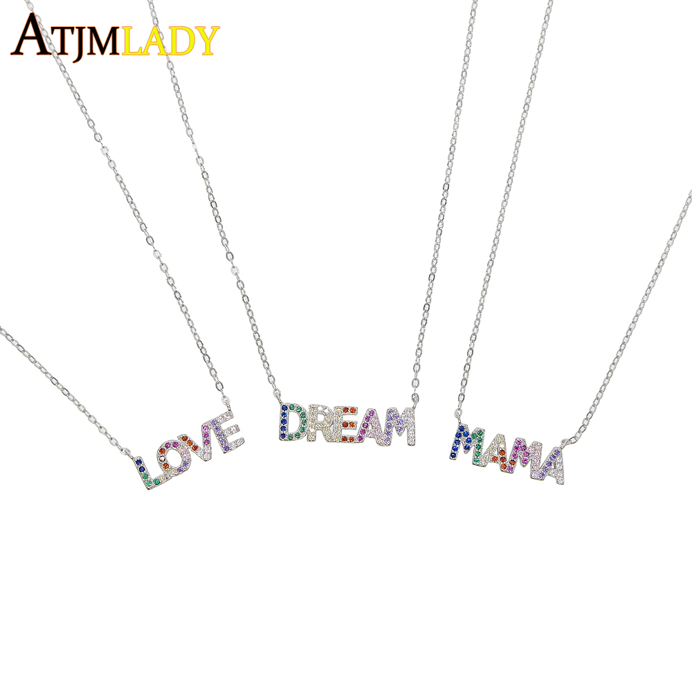 925 sterling silver rainbow colorful cz MAMA LOVE DREAM necklaces for women multi layer rainbow cz letter charm Bohemia jewelry