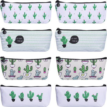 8 Pieces Small Fresh Pen Case Pencil Bag Canvas Pencil Pen Case Pen Holder Cosmetic Makeup Bag Set (Cactus Style) фото