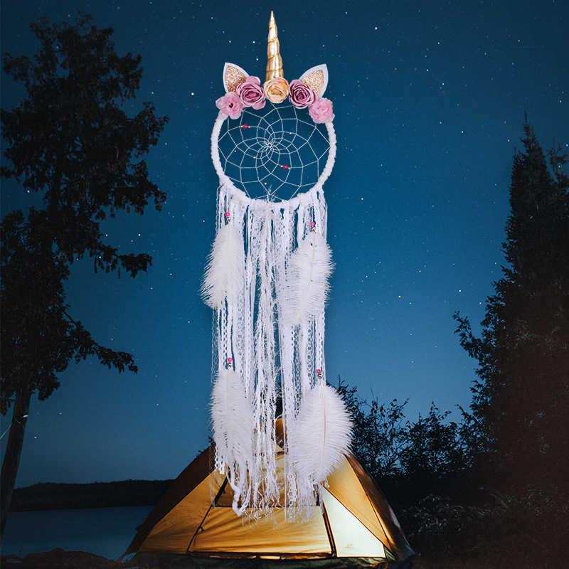 1 adet Unicorn dekorasyon asılı Dream Catchers doğum günü partisi kızlar yatak odası dekoru Hairband Unicorn Dreamcatcher hediyeler kızlar için