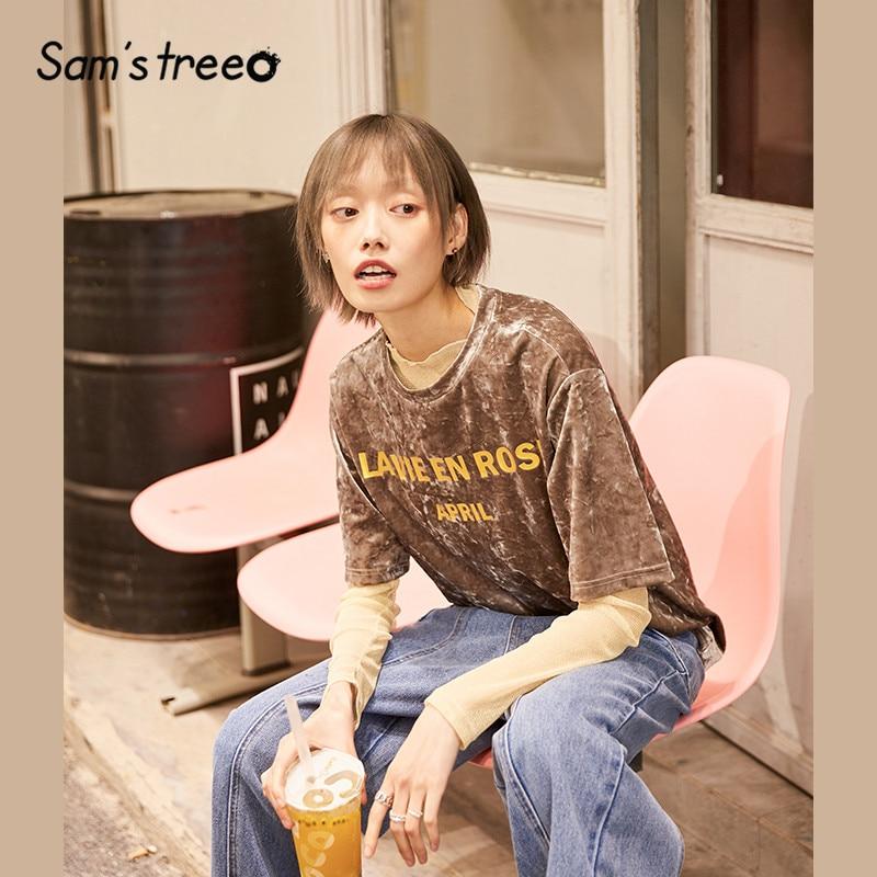 SAM'S TREE Gray Solid Letter Print Velvet Korean Women T Shirts 2020 Spring White Short Sleeve Casual Ladies Daily Basic Tops