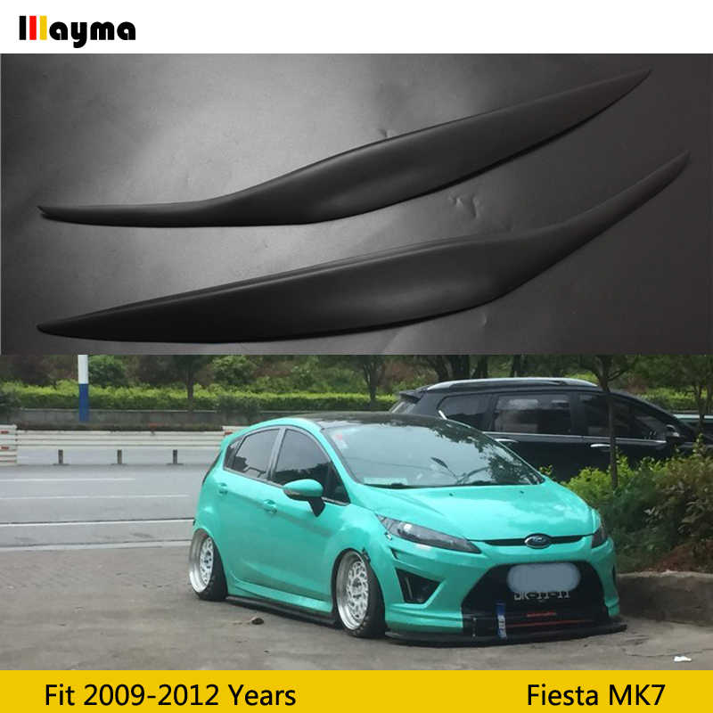 Fiber glass Front Headlight Cover Sticker Head Lamp Eyebrow Eyelid Covers For Ford Fiesta MK7 2009-2012 year FRP eyebrows