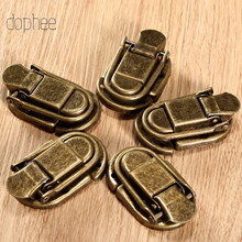 Dophee 5 pçs caso fivela de ferrolho trava gancho fecho de bloqueio jóias móveis decorativos caixa de presente de madeira bronze