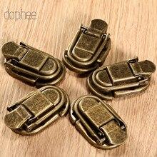 Dophee 5pcs กรณี Hasp BUCKLE LATCH Hook Clasp ล็อคเครื่องประดับตกแต่งเฟอร์นิเจอร์ของขวัญกล่องไม้ทองเหลือง