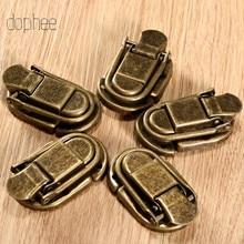 dophee 5pcs Case Hasp Buckle Latch Hook Clasp Lock Jewelry Decorative Furniture Gift Box Wooden Brass