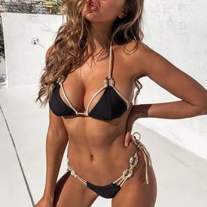 Image 4 - Brazilian triangle bikini 2020 Ribbed swimsuit female Halter diamond swimwear women High cut bathing suit Bandage biquini new