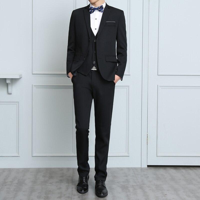 3Pcs/Set Men Suit Plus Size Men Solid Color Long Sleeve Lapel Slim Button Business Suit Work clothes Business suits|Suits| |  - title=