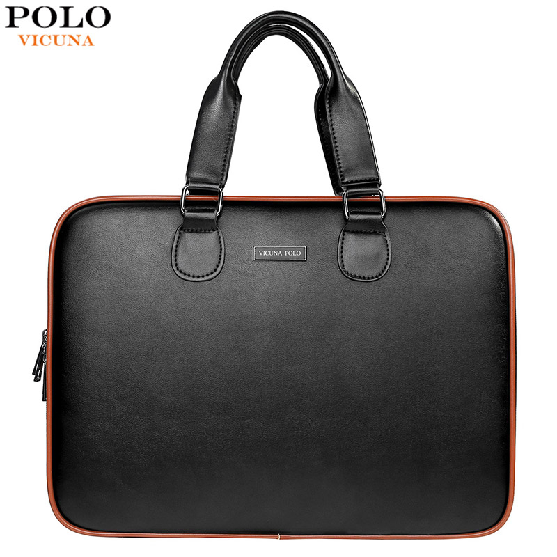 VICUNA POLO Fashion Brand Patchwork Men's Leather Briefcase Business Man Bag Travel Electronic Organizer For Cable Laptop Bags