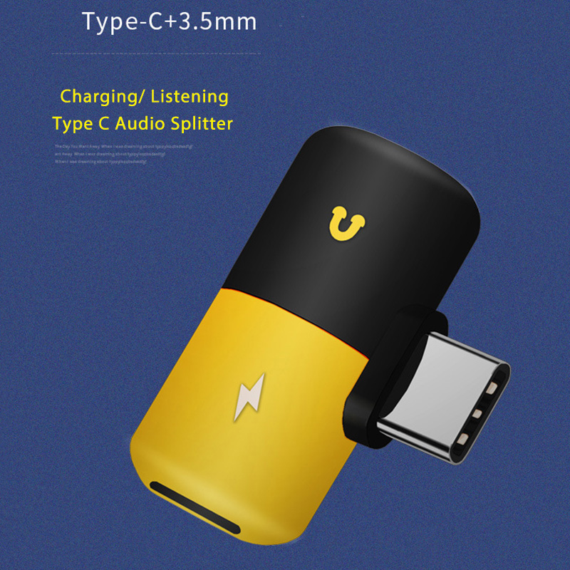 Audio Earphone Adapter 2 In 1 Type C Otg Usb C To Type C Adapter Headphone Audio Charge Splitter USB 3.1 Audio Charger Adapter